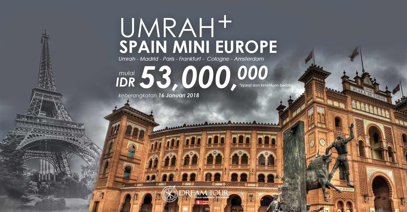 umroh plus eropa, umroh plus eropa 2017, pt dream tours and travel