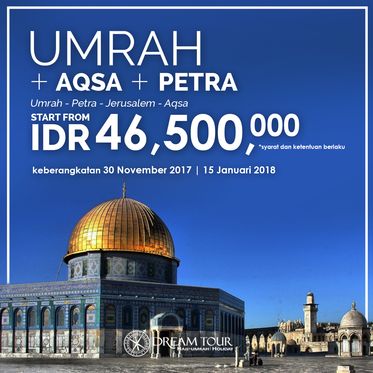 paket umroh plus, umroh plus, paket umroh plus 2017, pt dream tour and travel, umroh plus aqso