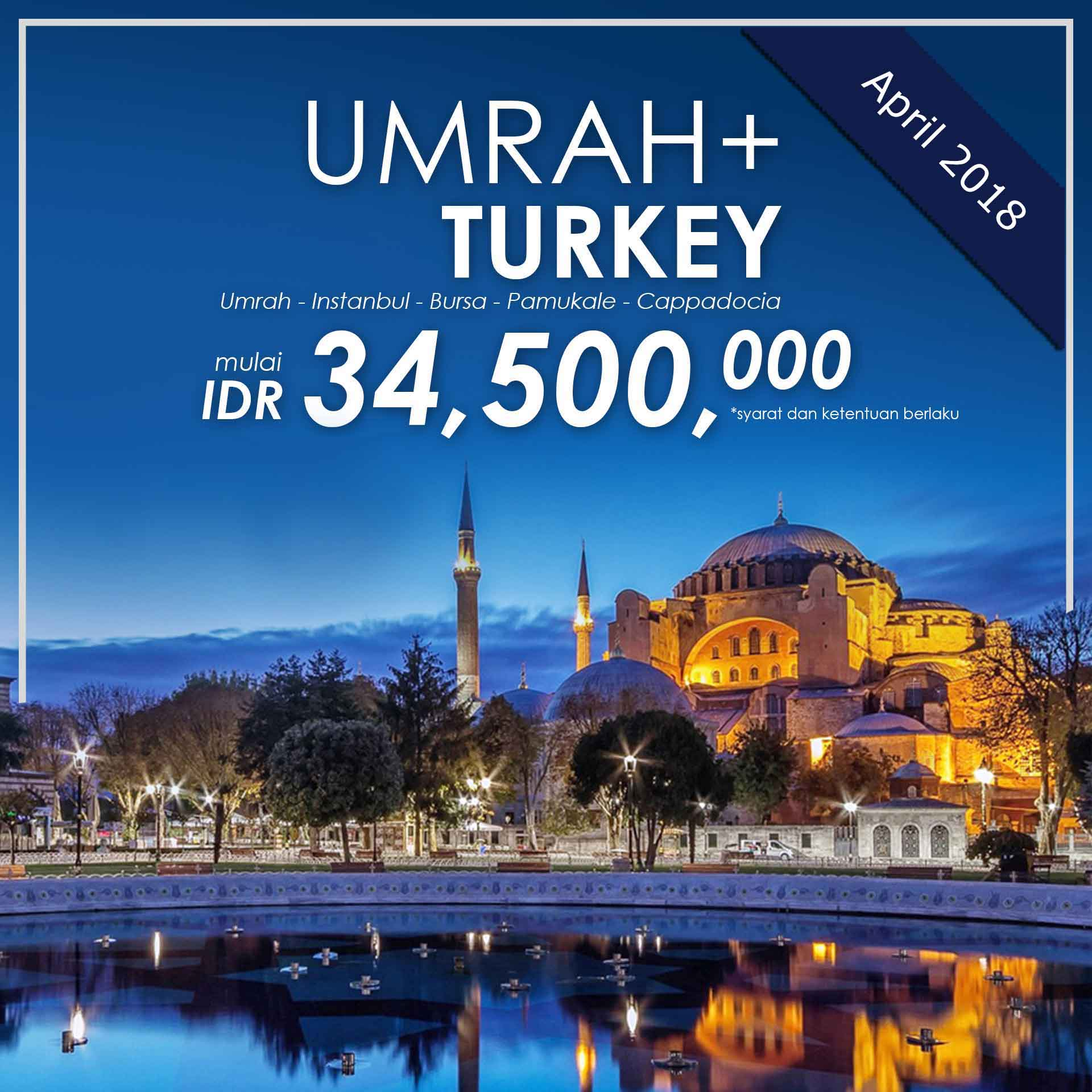 paket umroh plus, umroh plus, paket umroh plus turki april 2018, pt dream tour and travel